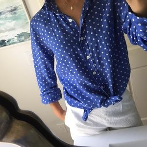 Just in! J.Crew Polka Dot Linen Perfect Blouse